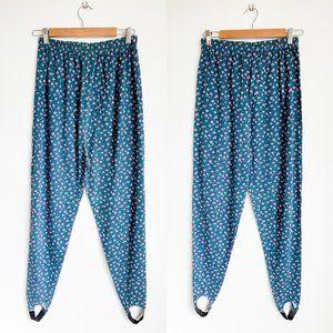 80's Vintage Floral Stirrup Leggings Pants